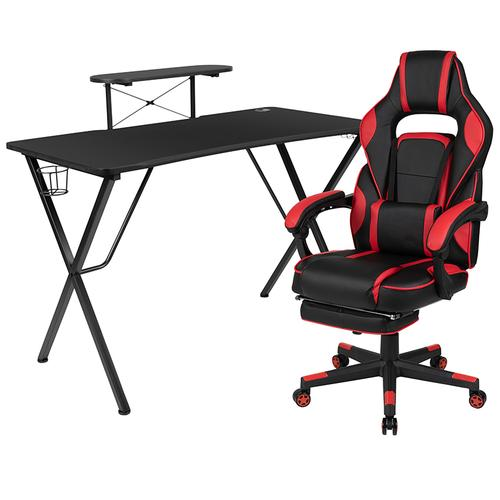 Gallery - Black Gaming Desk with Cup Holder\/Headphone Hook\/Monitor Stand & Red Reclining Back\/Arms Gaming Chair with Footrest