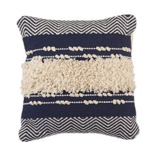 See Details - Navy & White Bobbles & Fringe Pillow