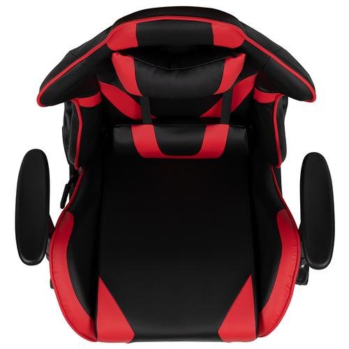Gallery - X20 Gaming Chair Racing Office Ergonomic Computer PC Adjustable Swivel Chair with Fully Reclining Back in Red LeatherSoft