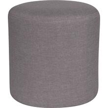 See Details - Barrington Upholstered Round Ottoman Pouf in Light Gray Fabric