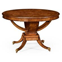 Biedermeier style crotch walnut centre or library table