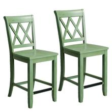 See Details - Vintage Distressed 2-Pack Green Counter Height Stools