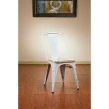 Bristow Metal Chair With Vintage Wood Seat, White Finish Frame & Pine Irish Finish Seat