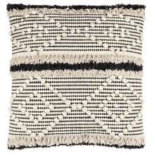 Black & Natural Diamond Bobble & Fringe Pillow