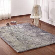 "Modern Fox Faux Fur Luxury Area Rug Appx. 3"" Pile Height by Rug Factory Plus - 7'6"" x 10'3"" / White Gray"