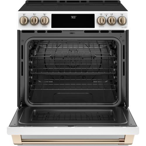 """GE Appliances - Café 30"""" Slide-In Front Control Induction and Convection Range with Warming Drawer"""