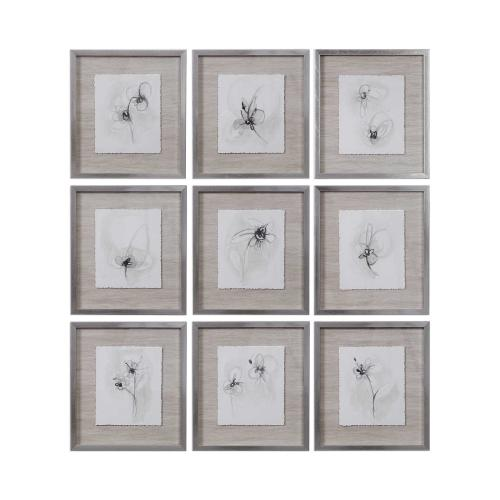 Neutral Floral Gestures Framed Prints, S/9