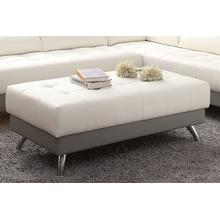 Agni XL Cocktail Ottoman, White-grey-leatherette