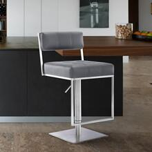 View Product - Michele Contemporary Swivel Barstool in Brushed Stainless Steel and Grey Faux Leather