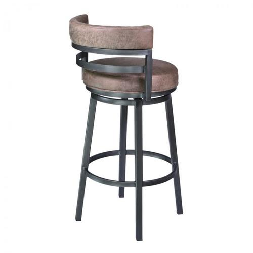 """Armen Living - Armen Living Madrid 26"""" Barstool in Mineral finish with Bandero Tobacco upholstery"""