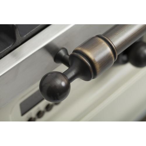 Nostalgie 24 Inch Dual Fuel Liquid Propane Freestanding Range in Antique White with Bronze Trim