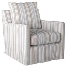 See Details - Slipcovered Swivel Chair w/Box Cushion & Track Arm - Seaside Blue Striped