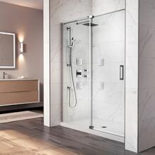 "48"" X 77"" Pivot Shower Doors With Clear Glass - Chrome"