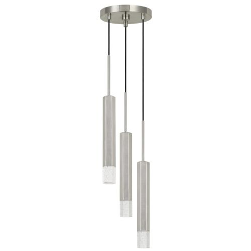 Troy integrated LED Dimmable Hexagon Aluminum Casted 3 Lights Pendant With Glass Diffuser