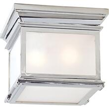 Visual Comfort CHC4128PN-FG E. F. Chapman Club 3 Light 9 inch Polished Nickel Flush Mount Ceiling Light in Frosted Glass