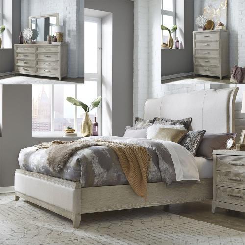 King California Upholstered Bed, Dresser & Mirror, Chest
