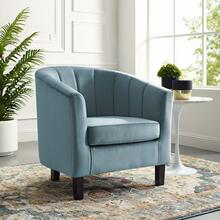 Prospect Channel Tufted Performance Velvet Armchair in Light Blue