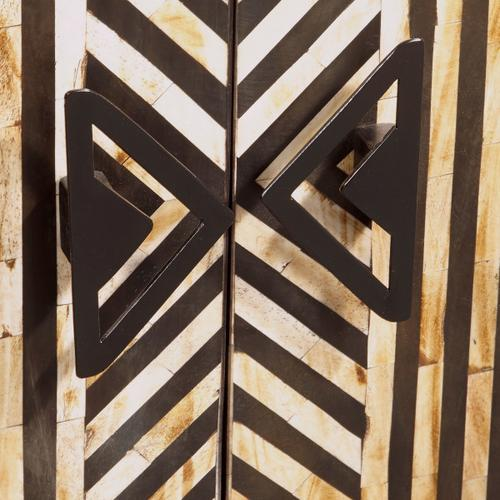Rustic Striped Bone Inlay Accent Chest in Cream and Black