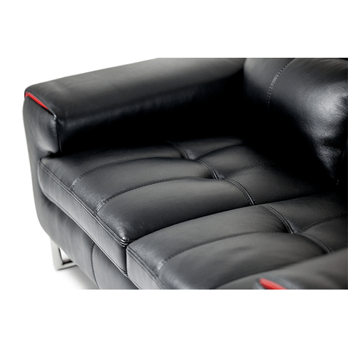 Magrena Leather Sofa in Black w/Red St.Steel