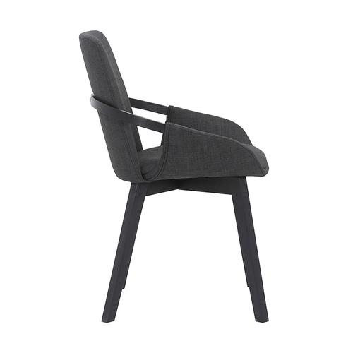 Armen Living - Greisen Modern Charcoal Upholstered and Wood Dining Room Chair