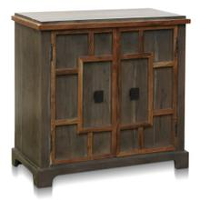 EVERETT CABINET  34in w. X 33in ht. X 16in d.  Solid Acacia Wood Two Door Cabinet with One Interio