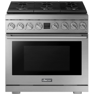 "DacorTransitional 36"" Dual-Fuel Range, Silver Stainless Steel, Natural Gas/Liquid Propane"