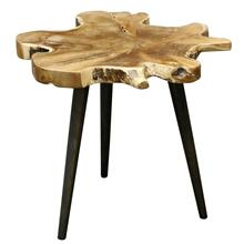 Lilly Side Table  26in X 25in X 18in Rustic Free Form Teak Root Table Top Finished in Clear Laquer