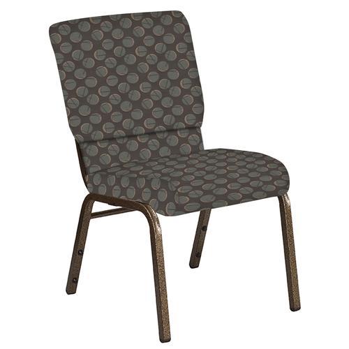 Flash Furniture - 18.5''W Church Chair in Cirque Earth Fabric - Gold Vein Frame