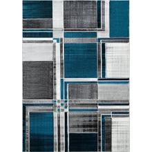 DA-415 TURQUOISE Abstract Rectangle Rug