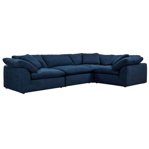 Cloud Puff Slipcovered Modular L Shaped Sectional Sofa (4 Piece)