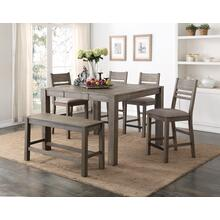 Cambridge 6 Piece Gathering Height Dining Set, Gray Brown 1126-gathering-5pc-k