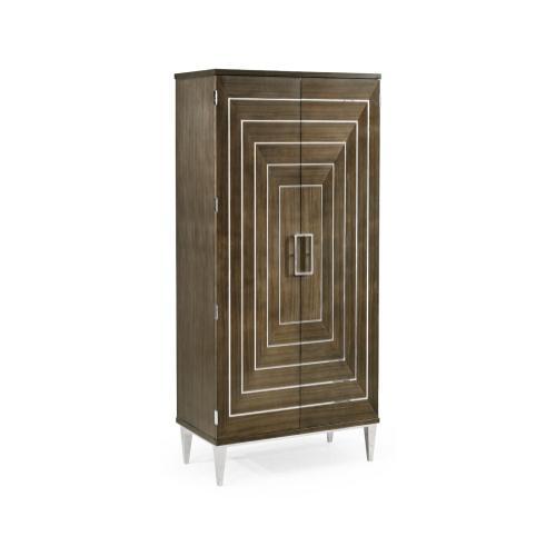 Gatsby Contemporary Dark Grey Walnut & Stainless Steel Storage Cabinet