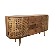 Wood/cane, 2-door/3-drawer Cabinet