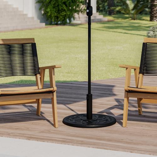 "Flash Furniture - Universal Black Cement Patio Umbrella Base with Weatherproof Plastic Polymer Coating - 19.25"" Diameter"