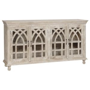 CRESTVIEW COLLECTIONSBENGAL MANOR LIGHT MANGO WOOD CATHEDRAL DESIGN 4 DOOR SIDEBOARD