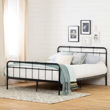 Gravity - Metal Platform Bed with headboard, Pure Black, Queen