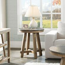 Weatherford Round Side Table with Bluestone Top Finish