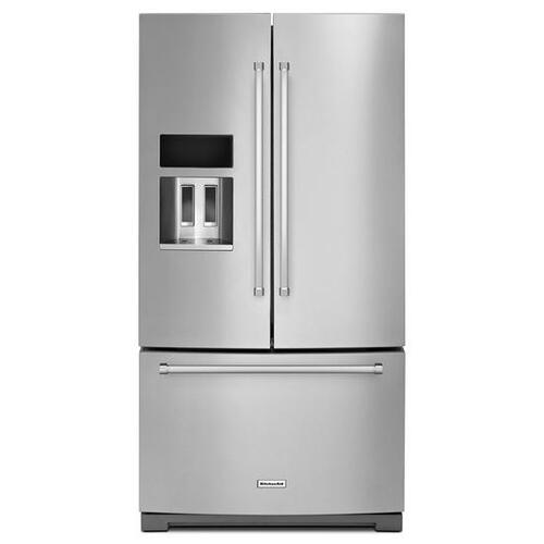 KitchenAid - Stainless Steel KitchenAid® 29 Cu. Ft. 36-Inch Width Standard Depth French Door Refrigerator with Exterior Ice and Water