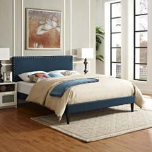 View Product - Macie Full Fabric Platform Bed with Squared Tapered Legs in Azure