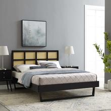 Sidney Cane and Wood Full Platform Bed With Angular Legs in Black