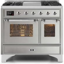 Majestic II 40 Inch Dual Fuel Natural Gas Freestanding Range in Stainless Steel with Chrome Trim