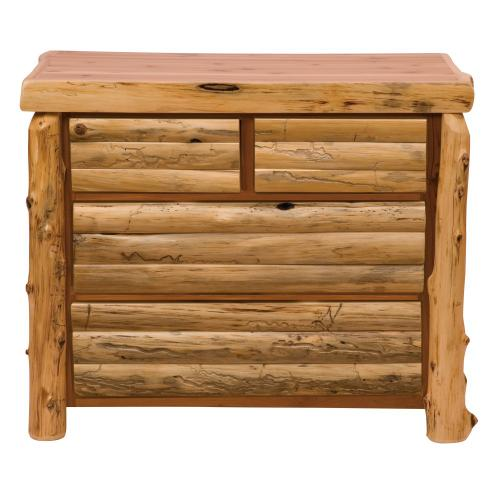 Log Front Four Drawer Low Boy - Natural Cedar - Log Front - Premium
