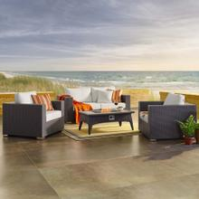 Convene 4 Piece Set Outdoor Patio with Fire Pit in Espresso White