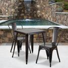 "Commercial Grade 23.75"" Square Black-Antique Gold Metal Indoor-Outdoor Table Set with 2 Stack Chairs Product Image"