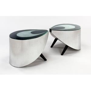 """Artmax - End Table / Side Table with Glass 27x18.5x19"""""""