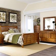 Queen Sleigh Bed, Dresser & Mirror, Night Stand
