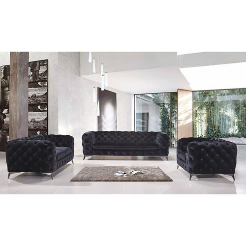 Divani Casa Delilah Modern Black Fabric Sofa Set
