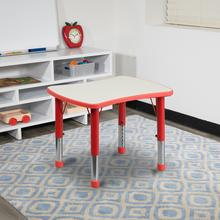 See Details - 21.875''W x 26.625''L Rectangular Red Plastic Height Adjustable Activity Table with Grey Top