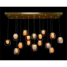Bansho: Thirty Light Layered Glass Horizontal Pendant Chandelier