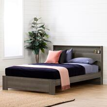 Gravity - Platform Bed with Headboard Set, Gray Maple, Queen